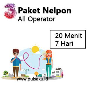 Paket Telpon Three - 20 Menit All Opr 7hari