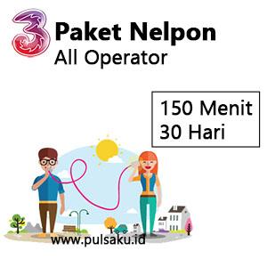 Paket Telpon Three - 150 Menit All Opr 30Hr