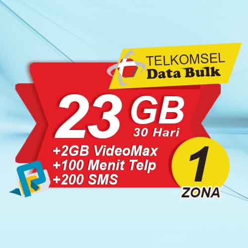 Telkomsel Bulk TSel Zona 1 - 28GB All+2GB VideoMax+600Menit+200SMS 30 Hari