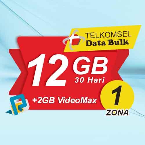 Telkomsel Bulk TSel Zona 1 - 12GB All+2GB VideoMax 30 Hari