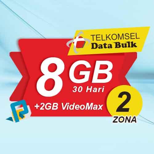 Telkomsel Bulk TSel Zona 2 - 8GB All+2GB VideoMax 30 Hari