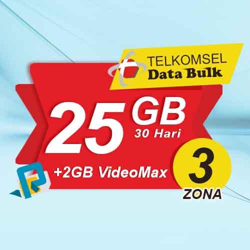 Telkomsel Bulk TSel Zona 3 - 25GB All+2GB VideoMax 30 Hari