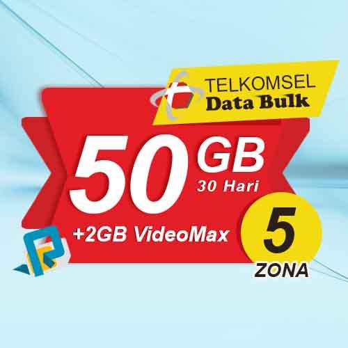 Telkomsel Bulk TSel Zona 5 - 50GB All+2GB VideoMax 30 Hari