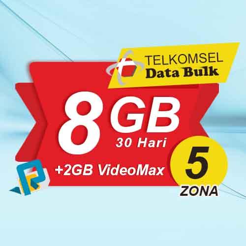 Telkomsel Bulk TSel Zona 5 - 8GB All+2GB VideoMax 30 Hari