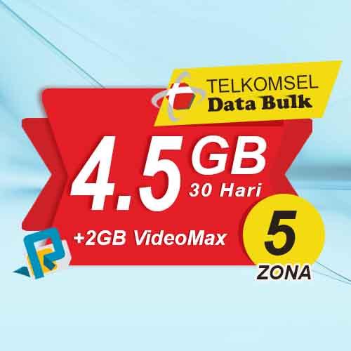 Telkomsel Bulk TSel Zona 5 - 4.5GB All+2GB VideoMax 30 Hari