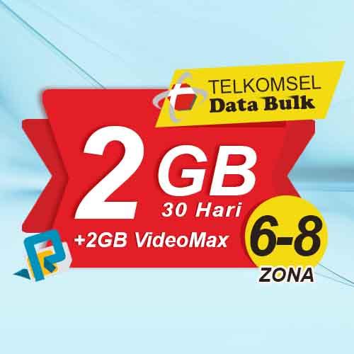 Telkomsel Bulk TSel Zona 6-8 - 2GB All+2GB VideoMax 30 Hari
